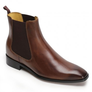 CHAMARIPA Men's Elevator Shoes Height Increasing Dress Shoes Brown Chelsea Boots 7CM / 2.76Inches