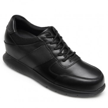 CHAMARIPA elevator sneakers for men black genuine leather shoes to be taller 10CM / 3.94 Inches