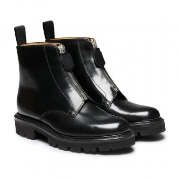 CHAMARIPA women black wedge boots - wedge sneaker boots - black leather derby boot 7CM / 2.76 Inches taller