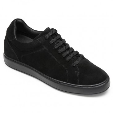 CHAMARIPA casual elevator shoes for men black suede leather shoes that make you taller 7CM / 2.76 Inches