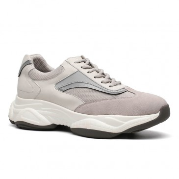 Chamaripa Height Increasing Shoes Men Taller Shoes Apricot Chunky Trainers Elevator Sneakers 8.5CM / 3.35Inches