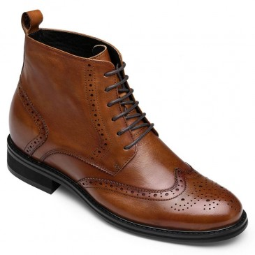 CHAMARIPA invisible height increasing elevator boots men's brown leather boots 7CM / 2.76 Inches