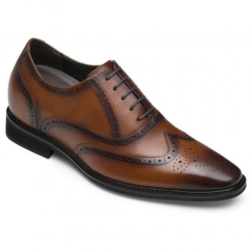 CHAMARIPA dress elevator shoes for men height shoes premium leather oxford brogues in brown 8CM / 3.15 Inches