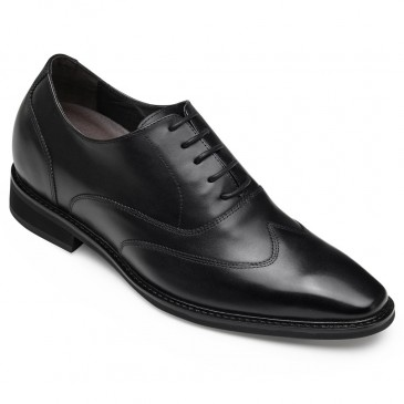 CHAMARIPA elevator shoes for men height increasing dress shoes leather Wing-Tip oxford in black 8CM/3.15 Inches