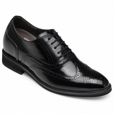 CHAMARIPA men's elevator shoes men's high heel dress shoes black leather oxford brogues 8CM/3.15 Inches