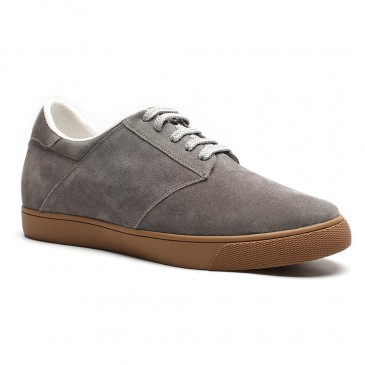Chamaripa casual elevator shoes suede hidden heel shoes grey men taller shoes 6 CM / 2.36 Inches
