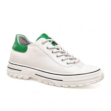 CHAMARIPA women's white height increase sneakers leather shoeliftswomen 6CM / 2.36 Inches