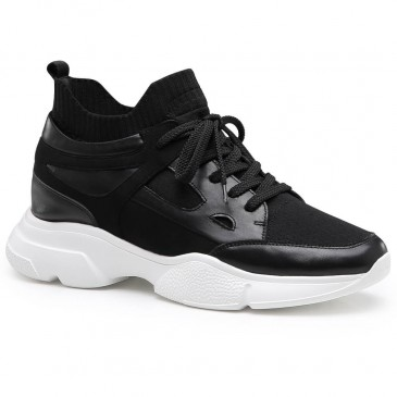 Chamaripa Elevator Sneakers for Men Height Increasing Shoes Black Sports Shoes 8 CM / 3.15 Inches