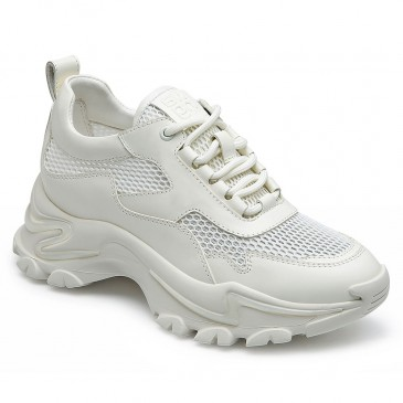 CHAMARIPA wedge sneakers for women - wedge tennis shoes - white leather & mesh sneaker shoes 7CM / 2.76 inches taller