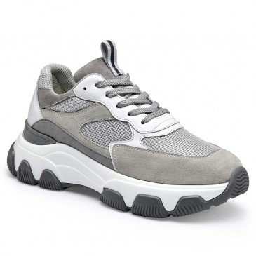 CHAMARIPA wedge sneakers for women fashion suede chunky sneakers in gray make you 7CM / 2.76 Inches taller