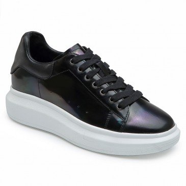 CHAMARIPA elevator shoes for women black wedge sneakers leather sneakers 6CM / 2.36 inches taller