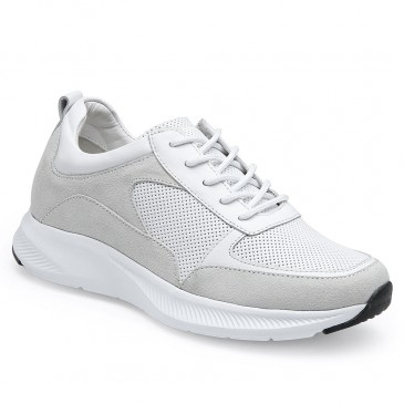 CHAMARIPA wedge sneakers for women - wedge tennis shoes - white leather sneakers women 7CM/2.76 inches taller