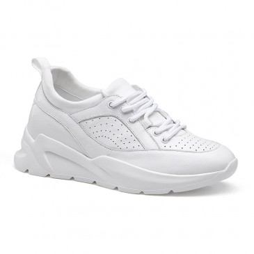Chamaripa Height Increasing Shoes for Women White Elevator Sneakers Casual Hidden Heel Shoes 7CM / 2.76 Inches