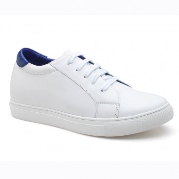 Women White Hidden High Heel Shoes Height Insole Sneaker to Add Height 7CM/2.76 Inches