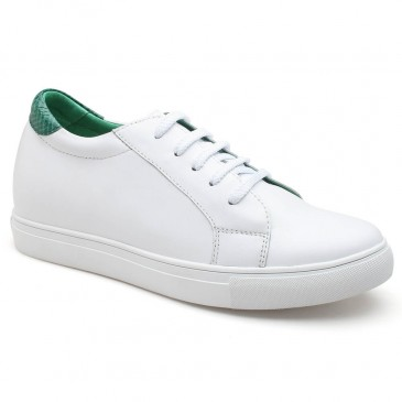 White Height Increase Shoes Elevator Sneakers for Women High Heel Shoes 7CM/2.76 Inches