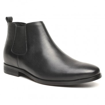 High Heel Boots for Men Height Increasing Chelsea Boots Men Taller Shoes Black 6 CM / 2.36 Inches