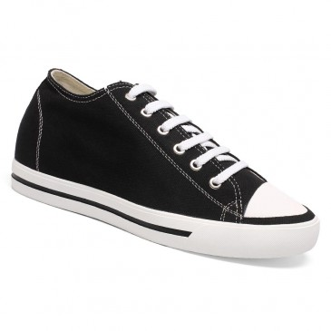 Classic Height Increasing Shoes Mens Tall Shoes Board Canvas Athletic Sports Solid Shoes 6 CM / 2.36 Inches