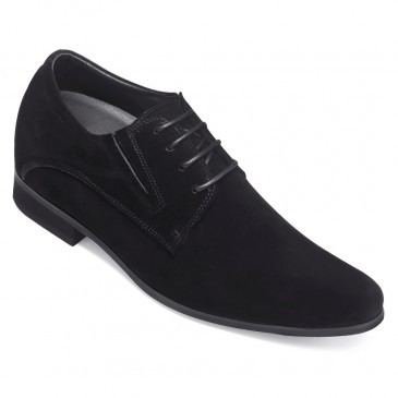 Chamaripa Height Increase Suede Shoes Black Hidden High Heel Men Dress Shoes 8 CM / 3.15 Inches