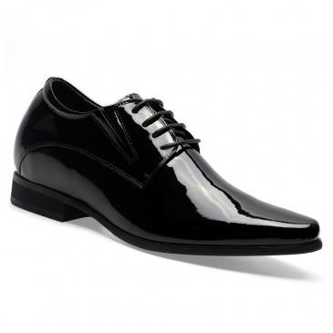 Chamaripa High Heel Shoes for Men Elevator Shoes Black Tuxedo Patent Leather Men's Dress Shoes 8CM / 3.15 Inches