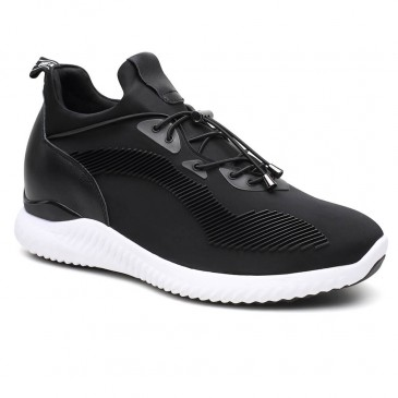 Black Tall Men Black Elevator Shoes Height Increasing Sneaker Lift Shoes Make You Taller 7cm/2.76 Inches