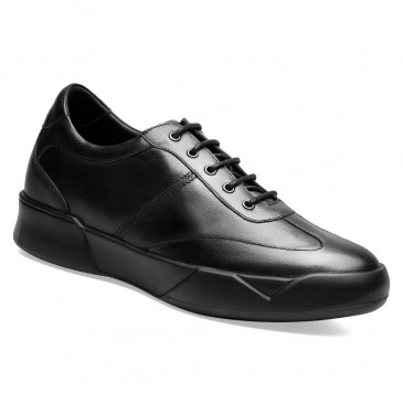 Casual High Heel Shoes for Men Black Heel Lift Shoes to Gain Height 7 CM /2.76 Inches