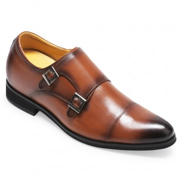 CHAMARIPA men's height increasing monk elevator dress shoes for men brown calfskin leather 7CM / 2.76 Inches