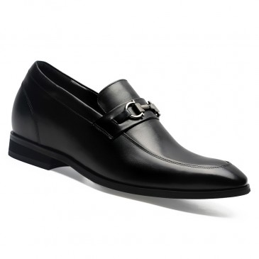Chamaripa Men Shoes with Heels Bit Loafers Black Leather Slip-on Tall Men Shoes 7 CM /2.76 Inches