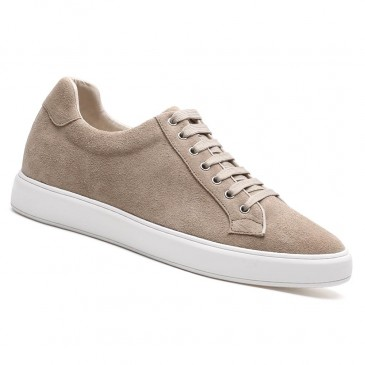 Chamaripa Elevator Shoes Suede Leather Apricot Sneakers that Add Height 6 CM / 2.36 Inches