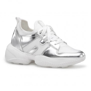 Chamaripa women's elevator sneakers silver leather height increasing sneakers casual shoes 9CM / 3.54 Inches