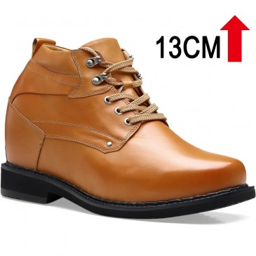 ऊँचाई बढ़ते हुए जूते छिपे हुए एड़ी कार्य करना जूते ब्राउन पुरुष लम्बे शूज़ 13 CM