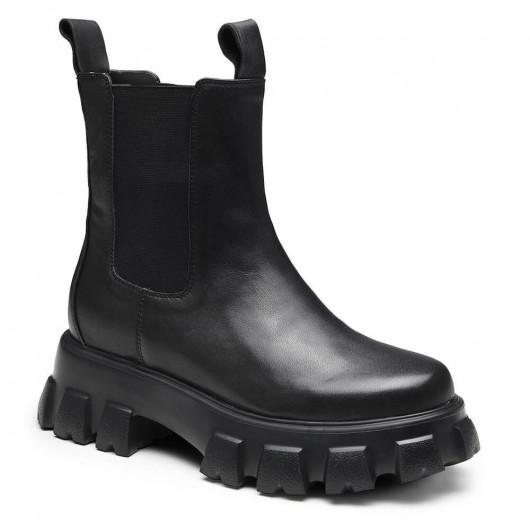 CHAMARIPA Chelsea stövlar dam med dold klack svarta läderstövlar lyfter 8 CM
