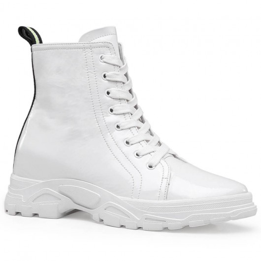 Vita kvinnors snörning höjdhöjning Boots 7 CM