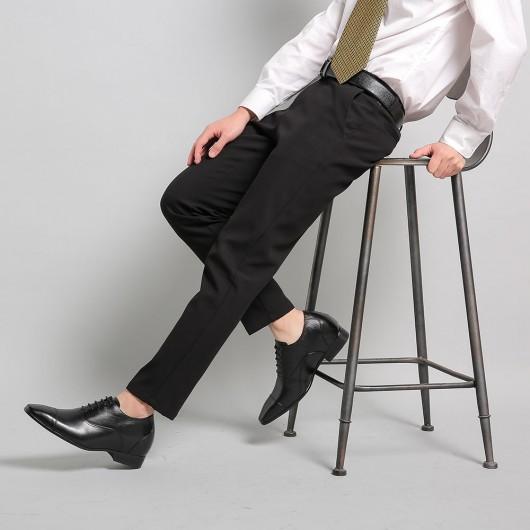 Herrskor med inbyggd platå - Ko läderklänning formella skor för att få högre 2,95 tum