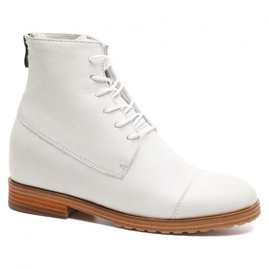 skor med inbyggd platå - vit läderhöjd övning stövlar för kvinnor mode klänning stövlar höjd häl stövlar 7 CM /2.76 tum