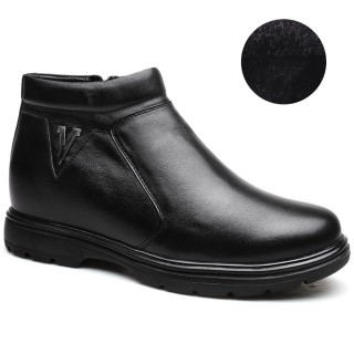 Slip-on Hidden Heel Boots Height Increasing Boots Plush Lining Warm Tall Men Shoes 8 CM/3.15 Inches