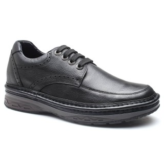 Casual Men Taller Shoes Add Height Shoes Leather Elevator Shoes 7 CM /2.76 Inches Black