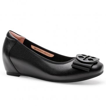 CHAMARIPA hissskivor för höghöjande skor för kvinnor för svart kalvskinn för damer 5 cm
