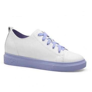 CHAMARIPA kvinnors hiss casual skor hissskor sneakers kvinnor vit kalvskinn 7CM