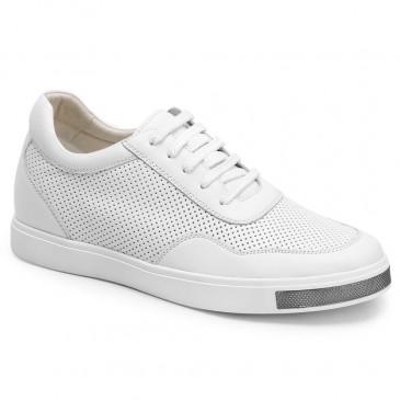 Herrskor med inbyggd platå - 6CM skor som gör dig längre höga klackar för män vita casual sneakers
