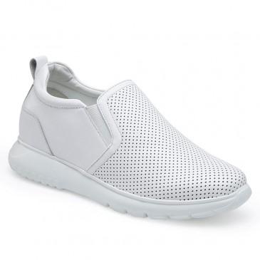 CHAMARIPA kvinnas kil sneakers - plattform wedges sneakers - vitt läder slip-on skor för kvinnor 7 CM högre