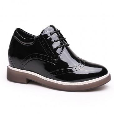 skor med inbyggd platå - Women High Heel Boots Black Hidden Platform Shoes Höjd Öka Skor 7 CM / 2,76 tum