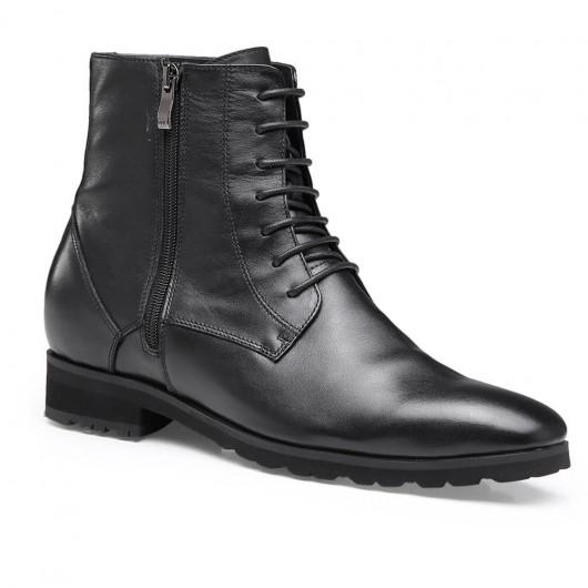 czarne skórzane wysokie męskie buty Wysokość Zwiększ buty buty 7 CM