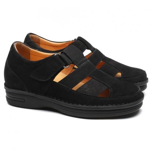 Schwarz Aufzugs-Sandalen für Männer Versteckte Höhe Erhöhte Schuhe Draussen Männer größere Schuhe 7cm