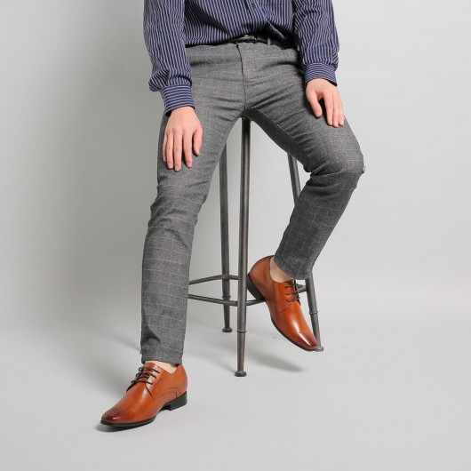 Braun Taller Aufzug Kleid Schuhe für Männer Echtes Leder Look  mode