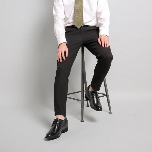 Chamaripa Schuhe die Größer machen - Schwarz schuhe mit verstecktem absatz Taller Aufzug Kleid Schuhe für Männer 10 CM Grösser