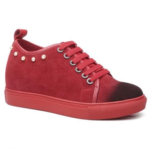 Damen Aufzug Schuhe rot Wildleder Schuhe mit versteckten Ferse 7 CM