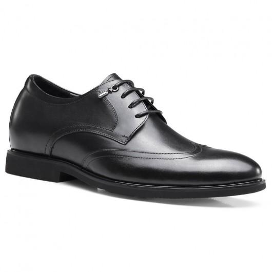 Chamaripa Aufzug Kleid Schuhe schwarz Leder Höhe zunehmende Schuhe schwarz 6 CM