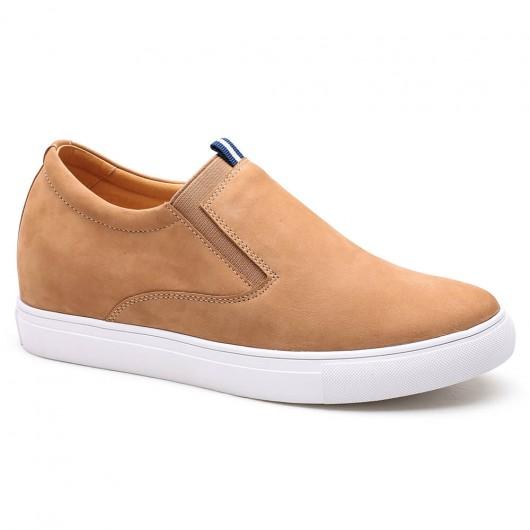 Gelb Lässige Männer Taller Schuhe Slip-on Männer heben Schuhe, um die Höhe 6 cm
