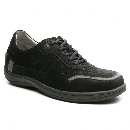 Schwarze Casual Elevator Schuhe für Männer versteckte Ferse Schuhe 6 CM