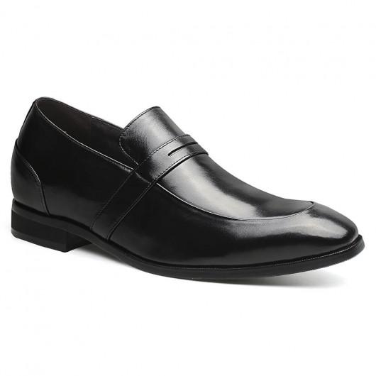 Schwarze Herren-Schuhe mit Absätzen mit hohem Hub Schuhe Höhe Erhöhung Penny Loafers 7 CM